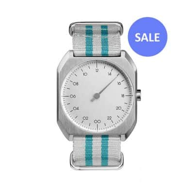 slow Mo 12 - Swiss one hand watch - Silver, light blue nylon - sale